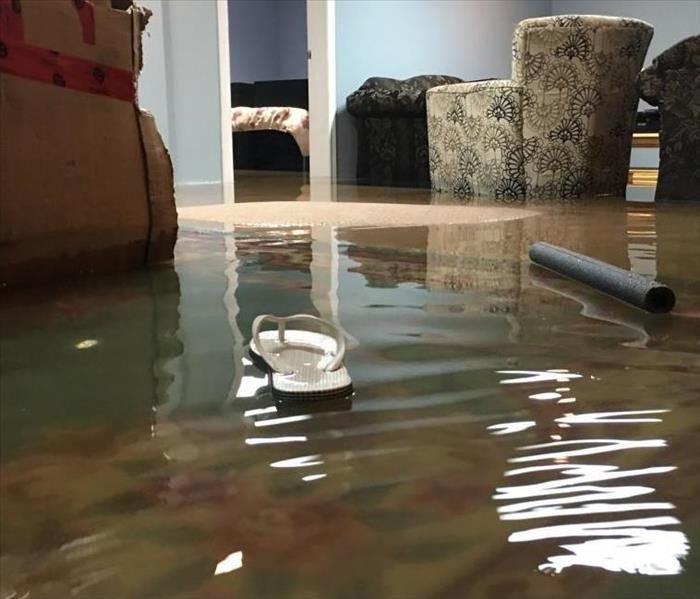 A living room has been flooded with water.